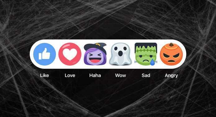 Facebook modifica temporariamente suas reações para o dia das bruxas