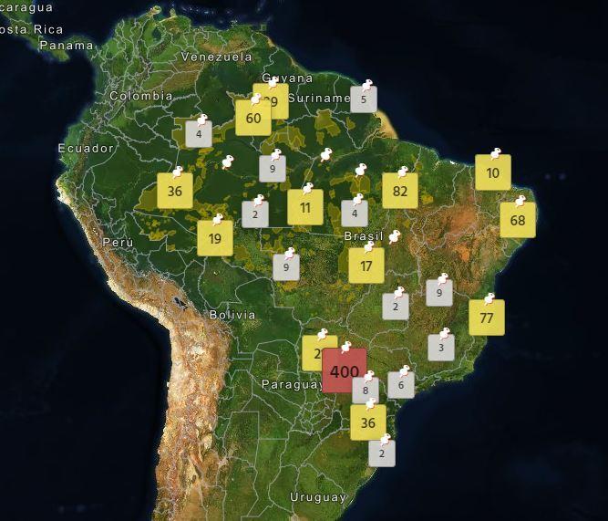 O mapa mostra os locais em que ocorreram as mortes de indígenas nas últimas décadas