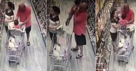 Sem saber, mãe impede que homem sequestre sua filha em mercado