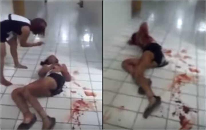 No vídeo, a travesti aparece ensanguentada no chão de um hospital