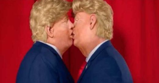 Grupo americano faz intervenção com 2 Trumps se beijando na rua