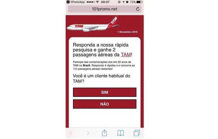 Golpe de passagem falsa da TAM se espalhou por redes como o WhatsApp
