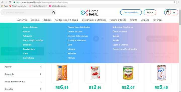 Tela do site HomeRefill