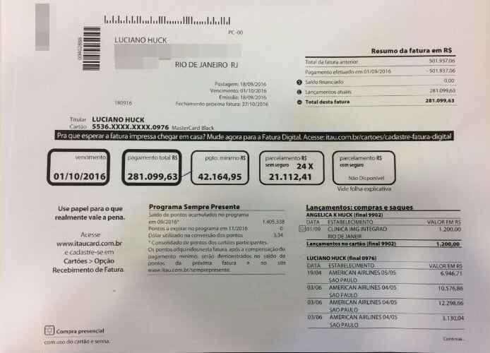 Suposta fatura do cartão de crédito de Luciano Huck