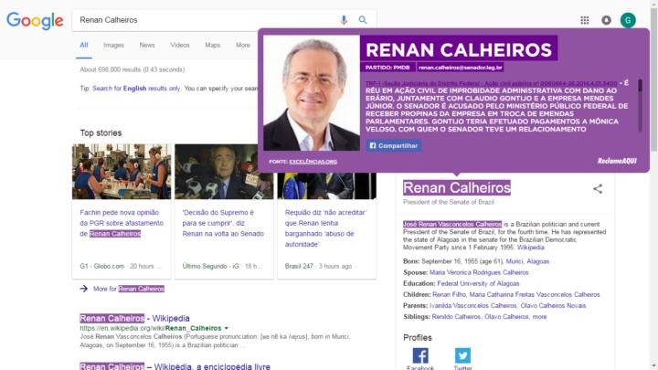 """Plugin """"Vigie Aqui"""" marca em roxo o nome de políticos ficha suja na web."""