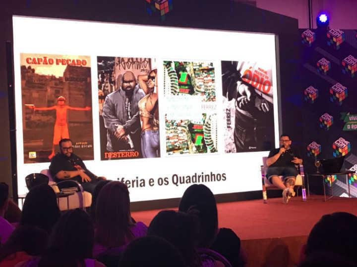 Ferrez e Alexandre de Maio na Comic Con Experience: o poder das HQs de dar voz aos marginalizados.