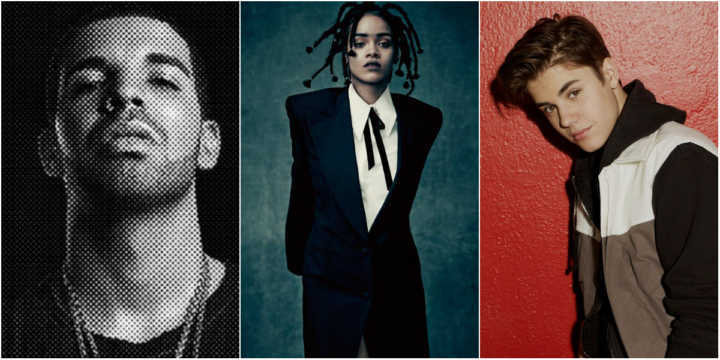 Drake, Rihanna e Justin Bieber estão entre os artistas mais tocados em 2016