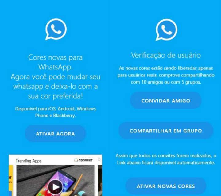 Golpe que promete personalizar cores do WhatsApp infectou mais de 1 milhão.