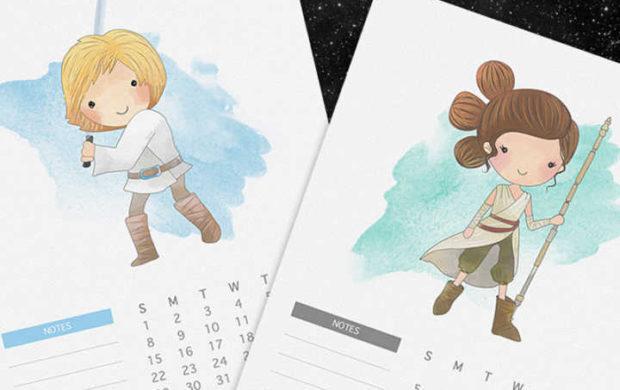Luke, Rey, Yoda, Darth Vader, BB-8 e todos os nossos outros personagens favoritos representando cada mês do ano