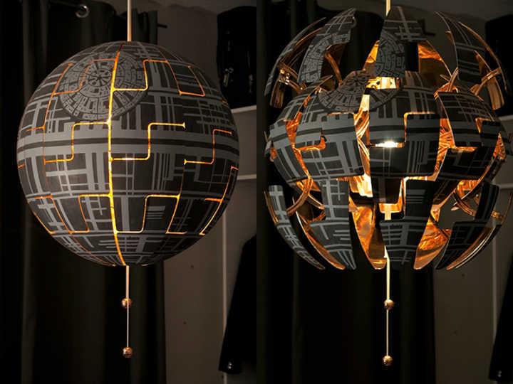 f de star wars transforma lustre em estrela da morte. Black Bedroom Furniture Sets. Home Design Ideas