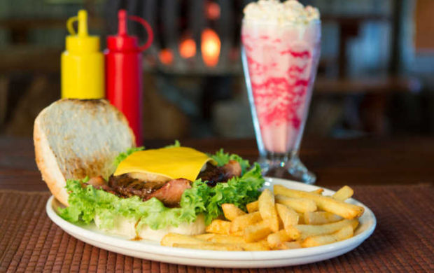 Burger and chips with a milkshake