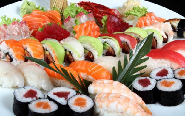 close-up sushi and sashimi mixed