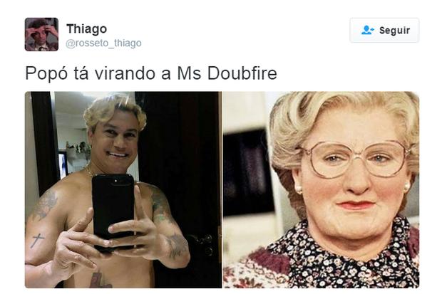 Popó muda o cabelo e internautas não perdoam