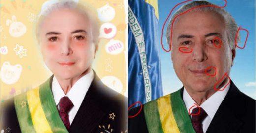 Foto oficial de Temer 'mal photoshopada' vira piada nas redes