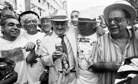 Hermínio Bello de Carvalho, Jaguar, Ziraldo e Sérgio Cabral, fundadores da Banda de Ipanema em 1990.