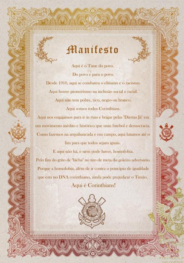 Corinthians lança manifesto contra homofobia