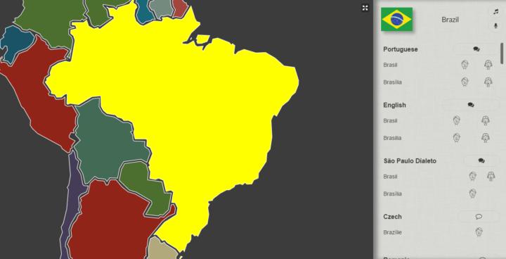 Mapa interativo permite escutar as línguas e sotaques do mundo