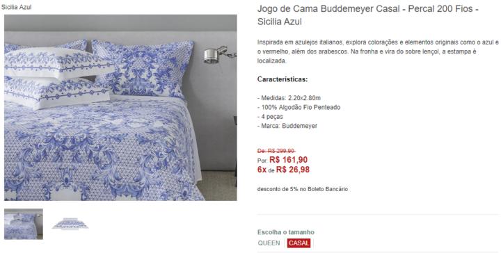 0b14ebb236 Esse jogo de cama da Buddemeyer está com 45% OFF na loja virtual da Zelo