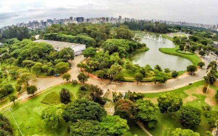 Vista panorâmica do Parque do Ibirapuera, um dos cartões-postais de São Paulo