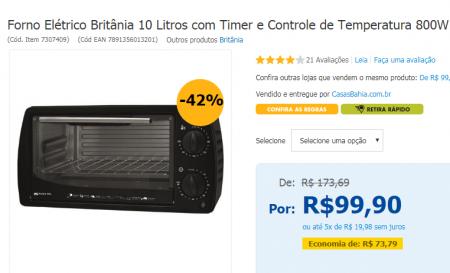 Reprodução/casasbahia.com.br