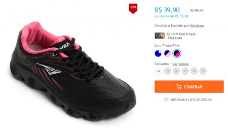Reprodução netshoes.com.br. Tênis Bout s Lightness Feminino ... 25bac3bcf7674