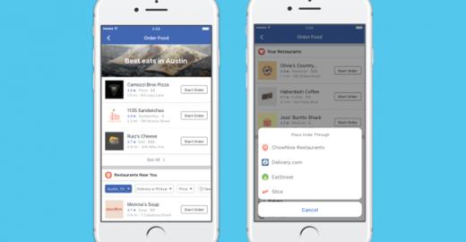 Prepare-se para pedir comida pelo Facebook logo, logo!