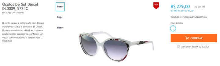 7e082b091 Óculos Calvin Klein, Diesel e Oakley até 60% OFF na Netshoes