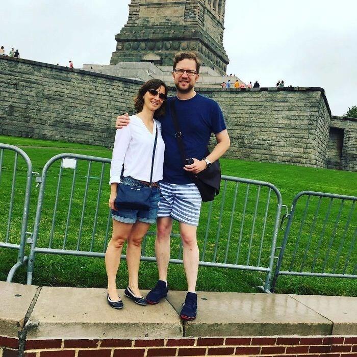 As famosas grades aos pés da Estátua da Liberdade, merecem uma foto mesmo.
