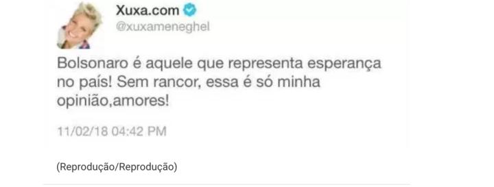 Xuxa apoia Bolsonaro? Mais uma fake news