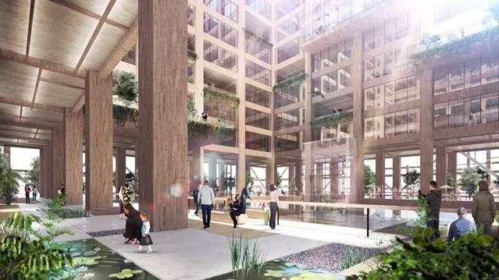 O interior terá lojas, apartamentos e escritórios