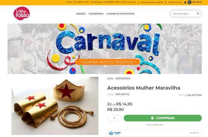 5463a083f6 Crédito: LucianaAcessórios para fantasia de Mulher-maravilha custam menos  de R$ 30 na Loja do Folião