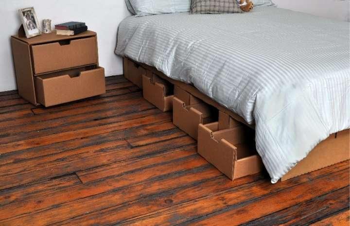 Móveis de papelão reciclado da marca Bedigami