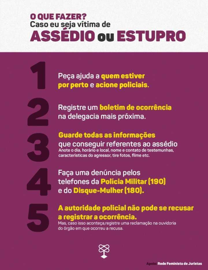 infográfico: o que fazer caso em seja vítima de assédio ou estupro