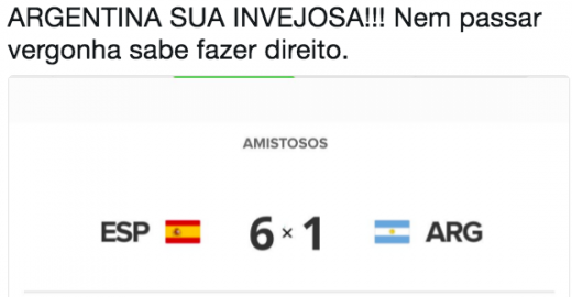 Brasileiros zoam a Argentina pela derrota de 6 a 1 contra Espanha