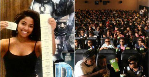 Jovem faz campanha e leva 210 crianças para ver 'Pantera Negra'