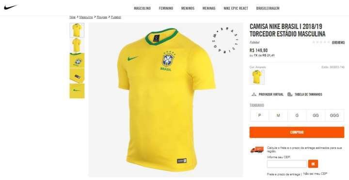 Crédito  VanessaNovos uniformes da Seleção Brasileira estão à venda no site  da Nike. Meião Nike Brasil Torcedor ... 38c534d306b26