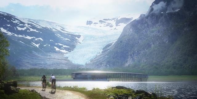 Croqui com vista do Svart, primeiro hotel com energia positiva a ser construído em clima nórdico no mundo, em meio às montanhas