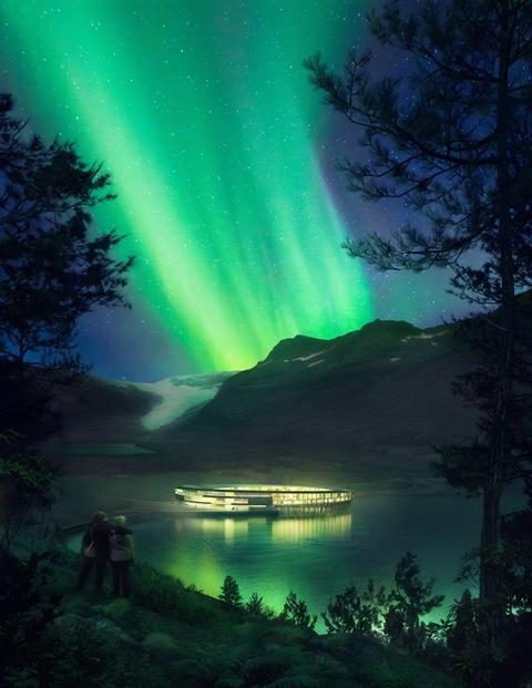 Esboço do hotel com energia positiva Svart à noite, sob a luz da aurora boreal