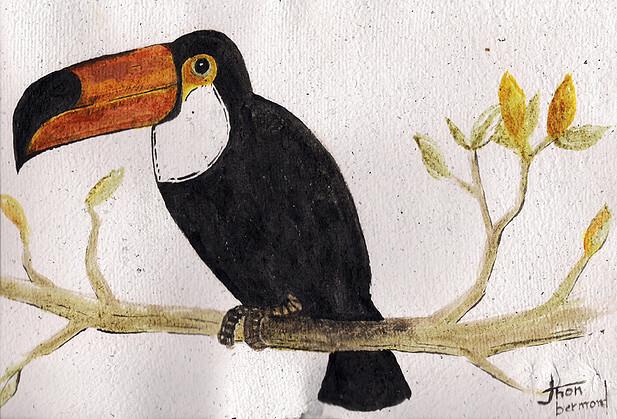 Pintura de Jhon Bermond foi feita com carvão, urucum, açafrão e cominho em papel reciclado
