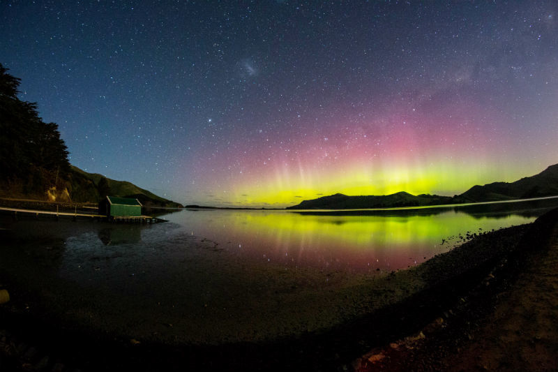 Aurora austral na Nova Zelândia