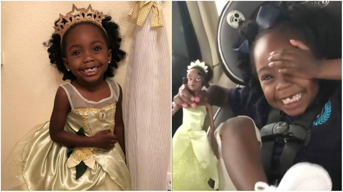 Menina de 3 anos se emociona ao ganhar boneca negra de presente