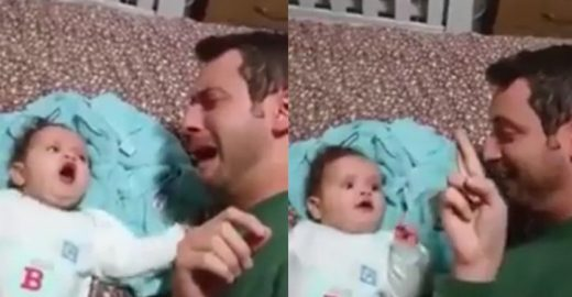 Pai acalma bebê usando língua de sinais; veja o vídeo