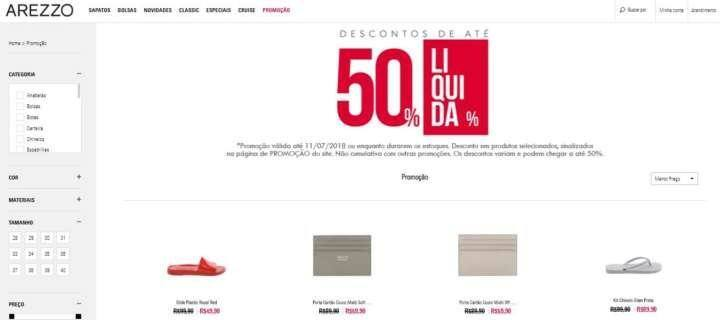 0965219cce Arezzo faz liquidação de sapatos pela metade do preço