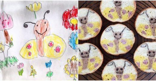 Mãe usa desenhos de filhos para criar pães incríveis