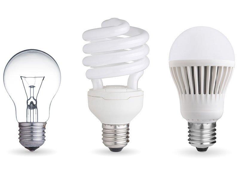 os três tipos de lâmpadas mais comuns