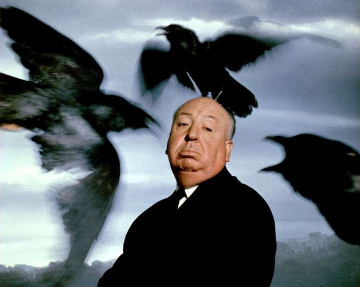 Retrato publicitário de Alfred Hitchcock para lançamento do filme