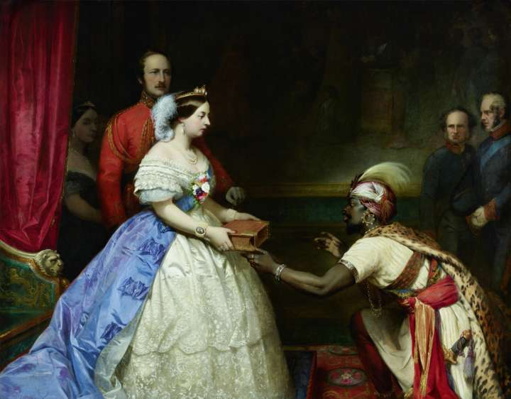 The Secret of England's Greatness' (Queen Victoria presenting a Bible in the Audience) (1863), de Thomas Jones Barker