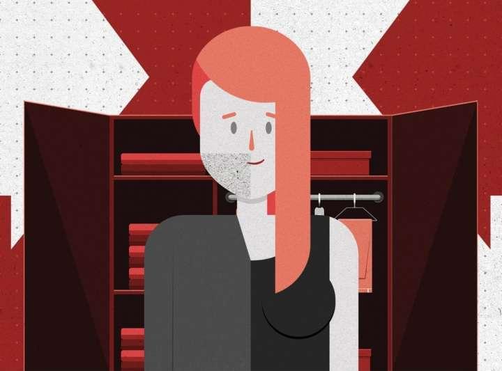 Ilustração de uma mulher para a doação de roupas a trans