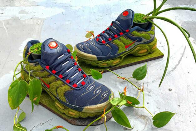 O artista japonês Kosuke Sugimoto transforma tênis Nike em vasos de plantas