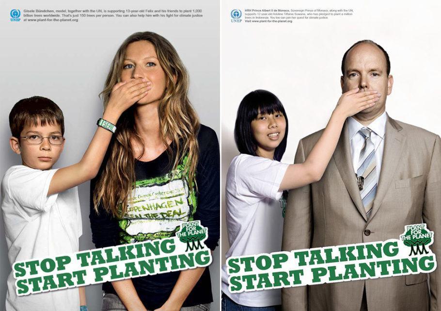 """Gisele Bündchen e o príncipe de Mônaco Albert II aderiram à campanha da Plant for the Planet, cujo slogan é """"Pare de falar e comece a plantar"""""""